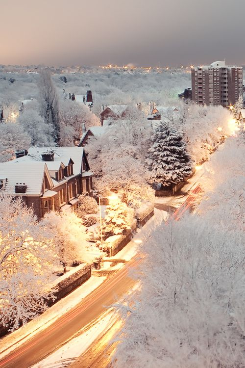 Snow in Liverpool, England