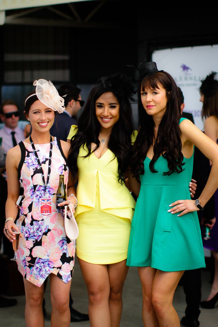 Bright colours and structured dresses are perfect for summer race days. These ladies look lovely!
