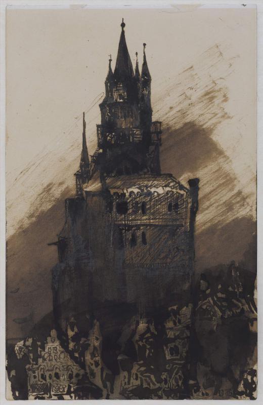 """Victor Hugo (1802-1885). """"Donjon"""". Plume et lavis d'encre brune, encre noire, sur feuille de papier vélin, 1865. Paris, Maison de Victor Hugo. © Maisons de Victor Hugo / Roger-Viollet"""
