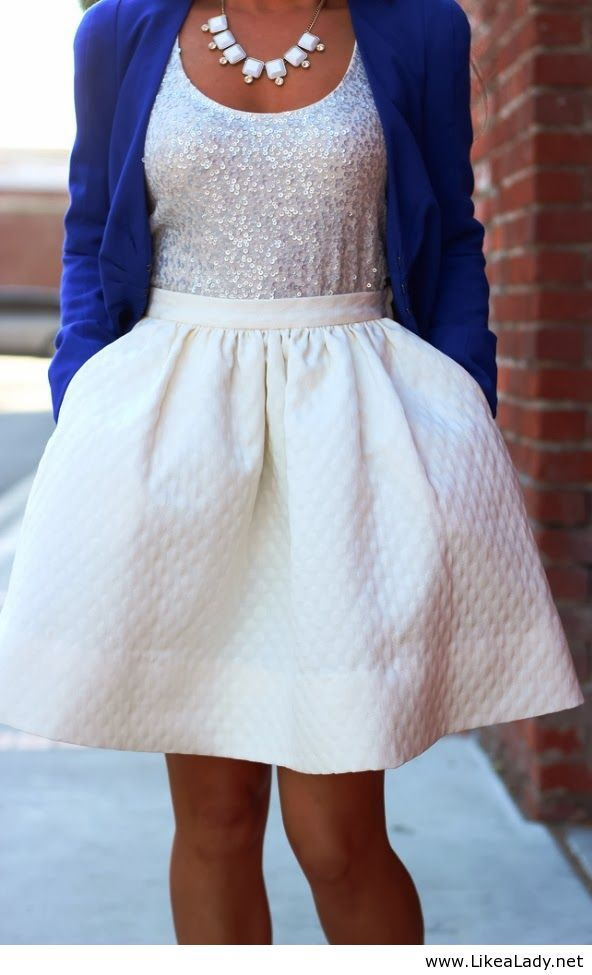 Amazing look - White skirt and top with royal blue blazer