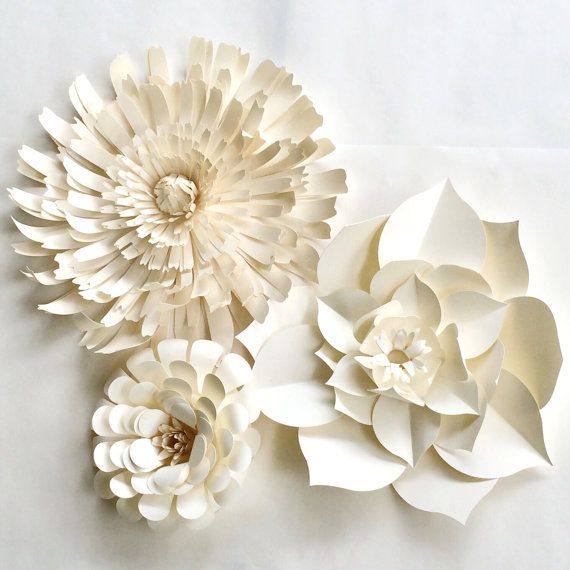 Wall Decoration Paper Flowers : Paper flower wall ready to ship white