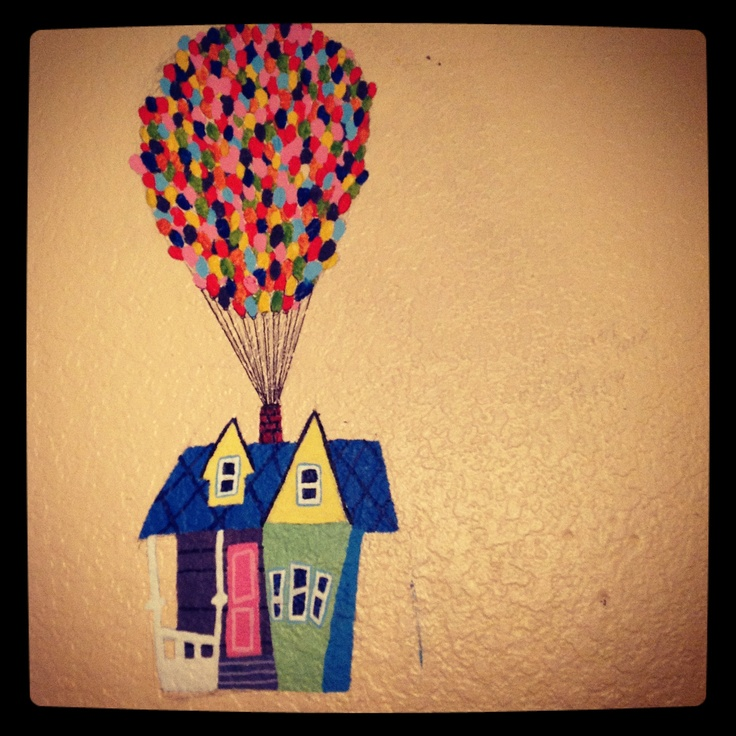Up mural painting, baloons, house