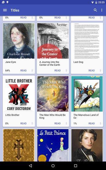 FBReader - reader app, supports .mobi, .pdf, and other popular formats bookshelf plugin