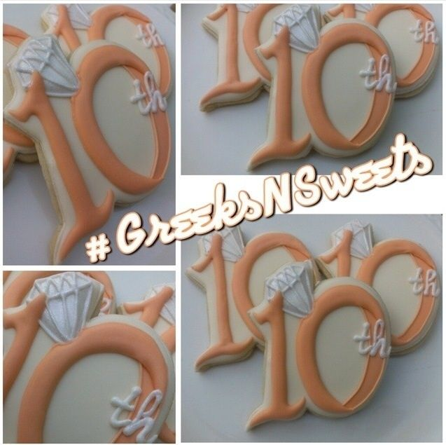 Image of Wedding Anniversary Cookies.....the number in the ring.....