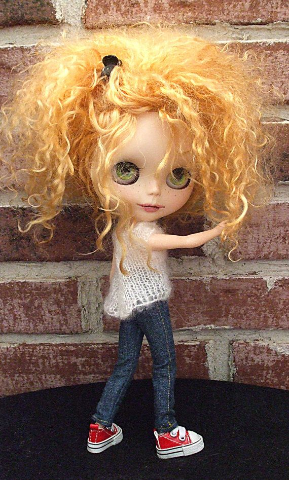 Blythe Doll Clothes White Knit Sweater Top for by Wymzeeknit, $20.00