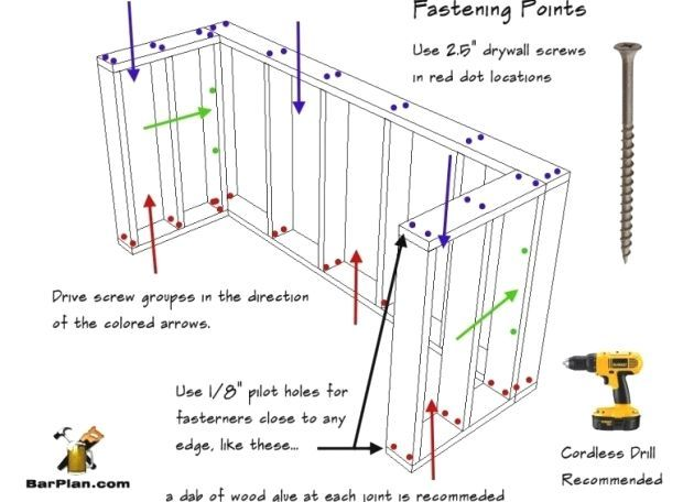 Wet Bar Framing Fastener Locations Wet Bar Framing Fastener Locations Wet Bar Framing Fastener Locations Basement Bar Plans Home Bar Plans Bar Plans
