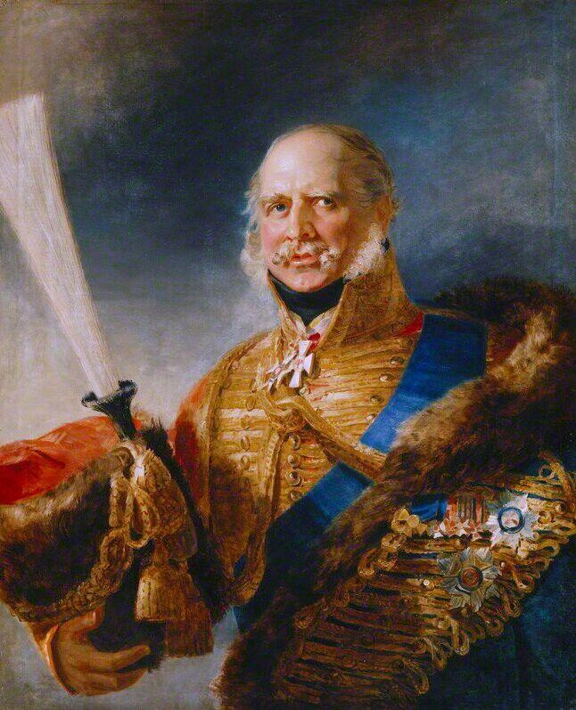 Ernst August I., König von Hannover, Herzog von Braunschweig-Lüneburg, Herzog von Cumberland oo Friederike von Mecklenburg-Strelitz. Seit 1837 König von Hannover. (1771-1851). Unbeliebt und reaktionär.