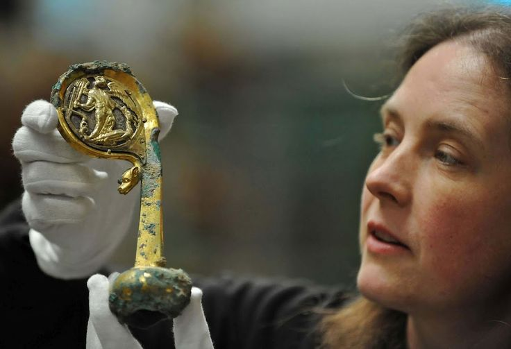 A rare medieval silver-gilt crozier and jewelled ring that were discovered during emergency repairs to the ruins of Furness Abbey in Cumbria will go on display at the Abbey over the May bank holiday weekend (Friday 4 – Monday 7 May 2012). The head of the crozier or staff is decorated with gilded silver medallions showing the Archangel Michael defeating a dragon.