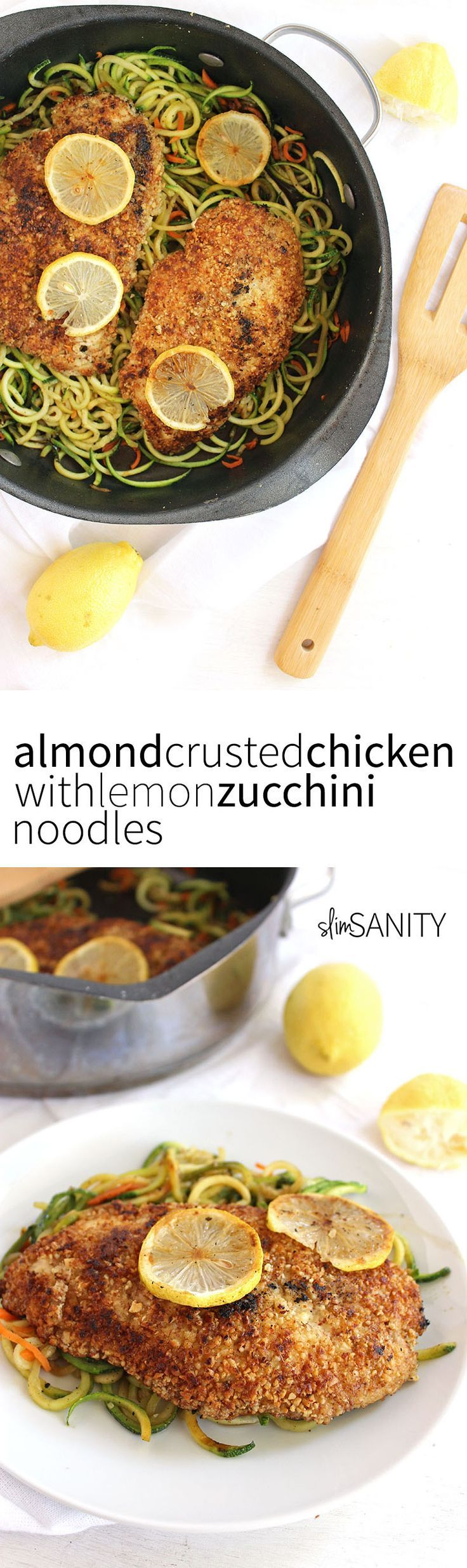 Almond Crusted Chicken with Lemon Zucchini Noodles