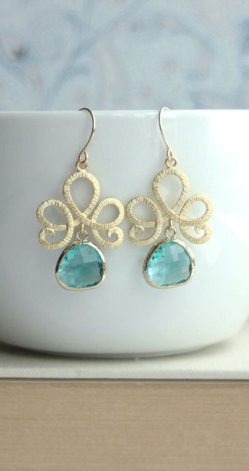 Zircon Blue Glass Drops, Matte Gold Filigree Scroll Dangle Earrings. Bridesmaid Gift. Blue and Gold Wedding. Friends, Wife, Sis, Family Gift. By Marolsha