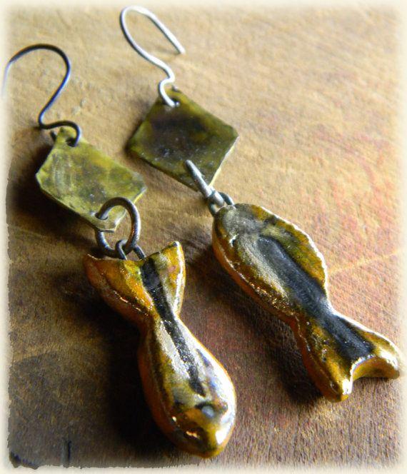 Cm Orange Yellow Art Glass Fish Ornament