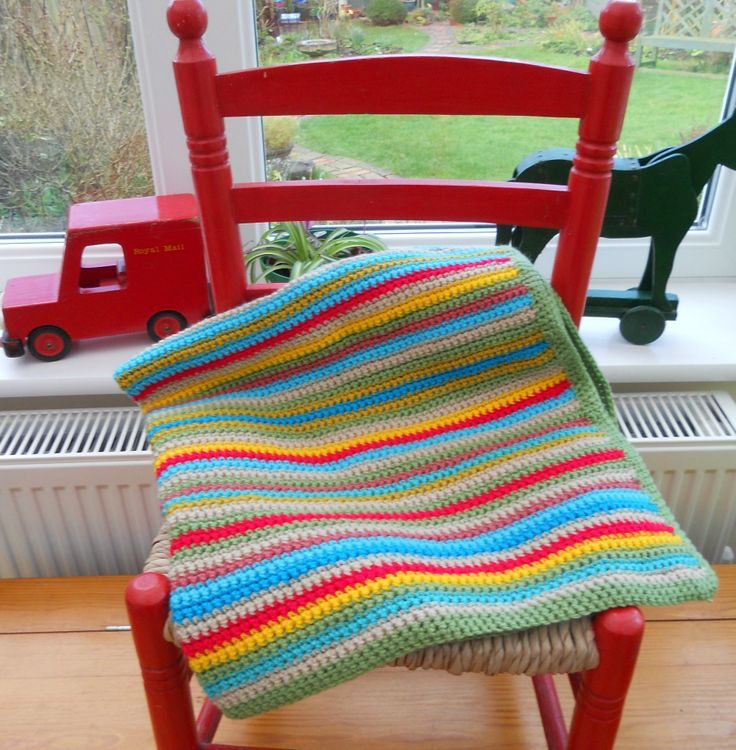 A HAND-MADE CROCHET STRIPED GRANNY BLANKET FOR BABY'S COT SOLD ON MY EBAY SITE