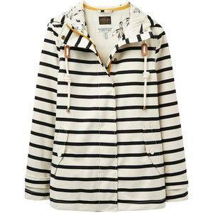 Joules Right as Rain Coast Stripe Waterproof Jacket, Cream/Black