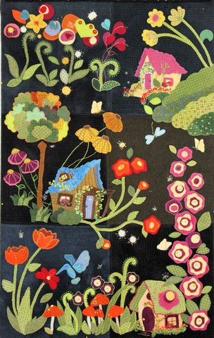 Full photo of My Blue Heaven wool applique project