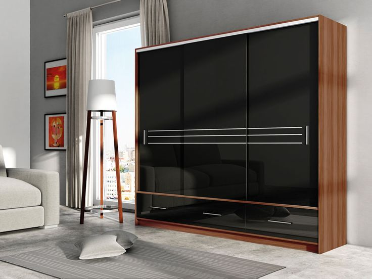 Alva 250 - Plum + black gloss or white gloss wardrobe