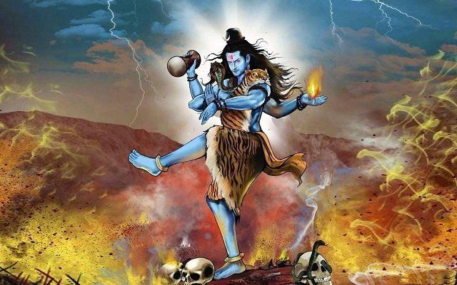 Lord shiva dancing in anger