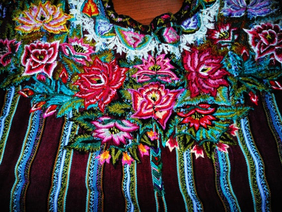 Flower Embroidery Mayan Huipil Santago Atitlan by CultureCross, $136.00