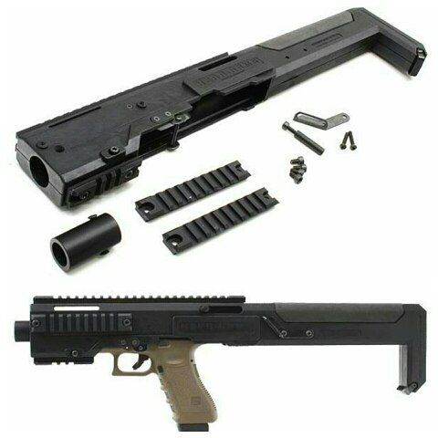 Hera-Arms GCC (Glock Carbine Conversion) kit for Glock G17 / G18C pistols. Save those thumbs & bucks w/ free shipping on this magloader I purchased mine http://www.amazon.com/shops/raeind   No more leaving the last round out because it is too hard to get in. And you will load them faster and easier, to maximize your shooting enjoyment.