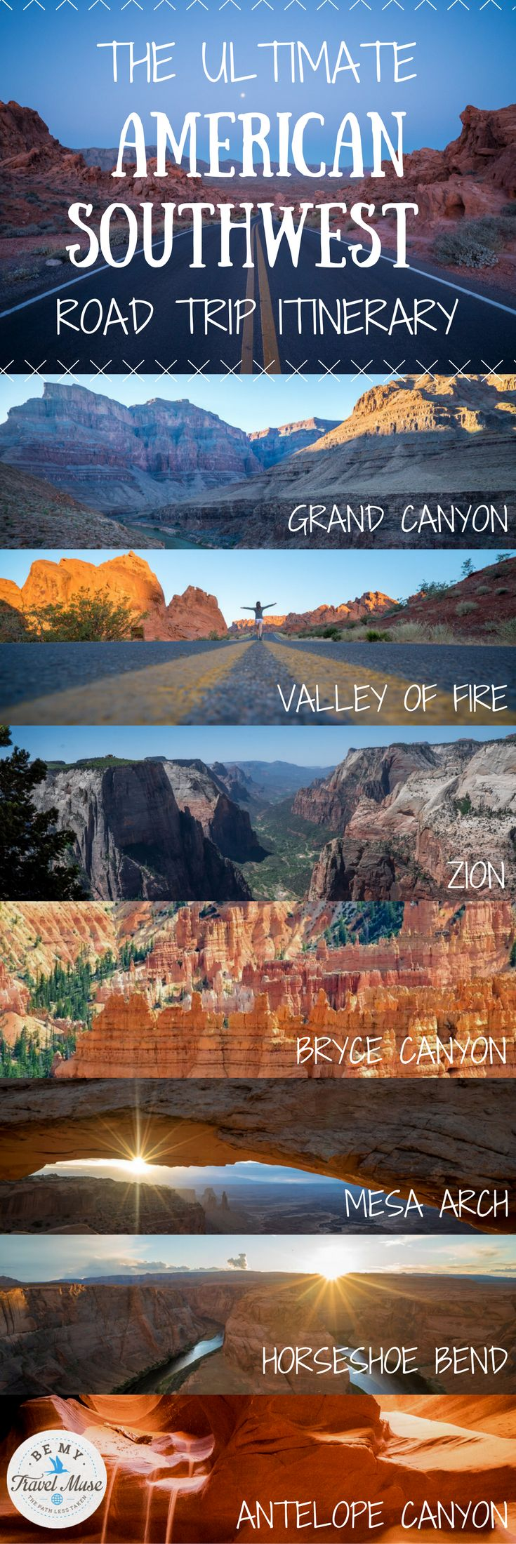 The ultimate road trip itinerary through America's Southwest with stops at national parks and monuments throughout Nevada, Utah and Arizona including the Grand Canyon, Horseshoe Bend, Zion, Antelope Canyon & more
