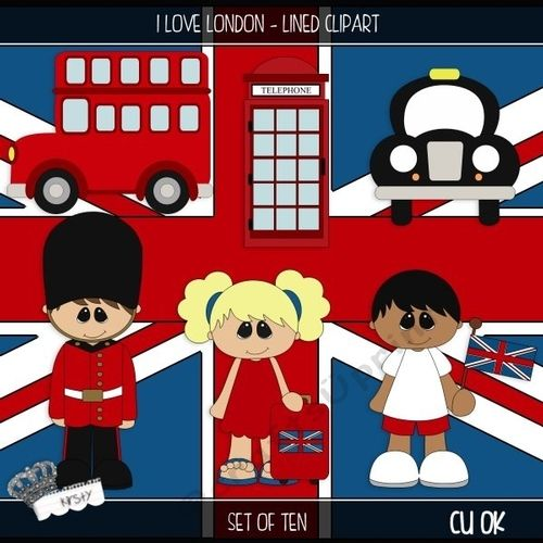 I Love London - Lined Clipart by kirsty smith This is a set of 10 seperate cliparts. This set is flat colours with a black outline. Perfect…
