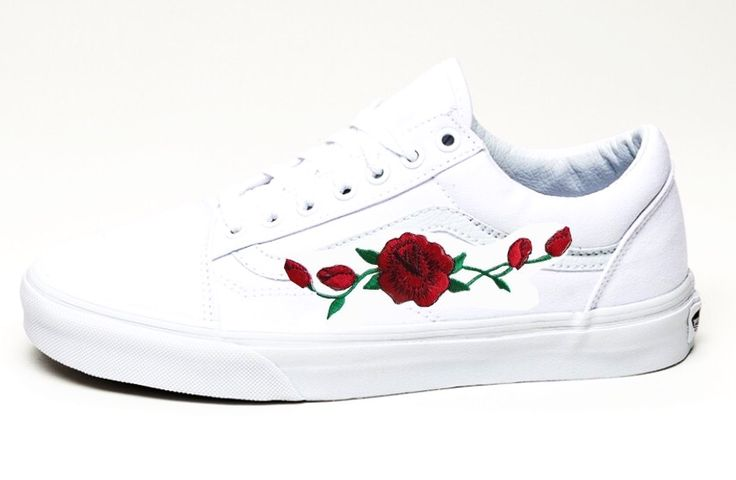 White old skool vans with rose patch