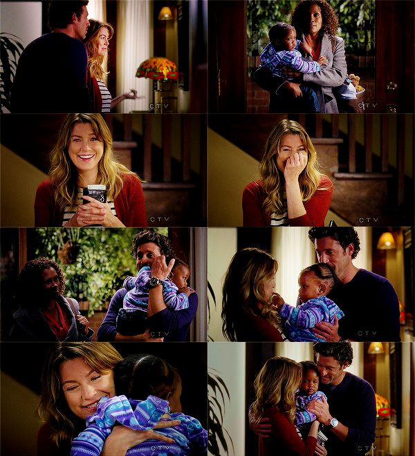 "Derek: ""Don't start eating that pizza without me... Meredith?""  Meredith: ""Derek?""  Derek: ""Yes?""  Meredith: ""Is that our baby?""  Derek: ""Yes. Yes it is!""  Janet: ""She's yours.""   ....love love love this scene"
