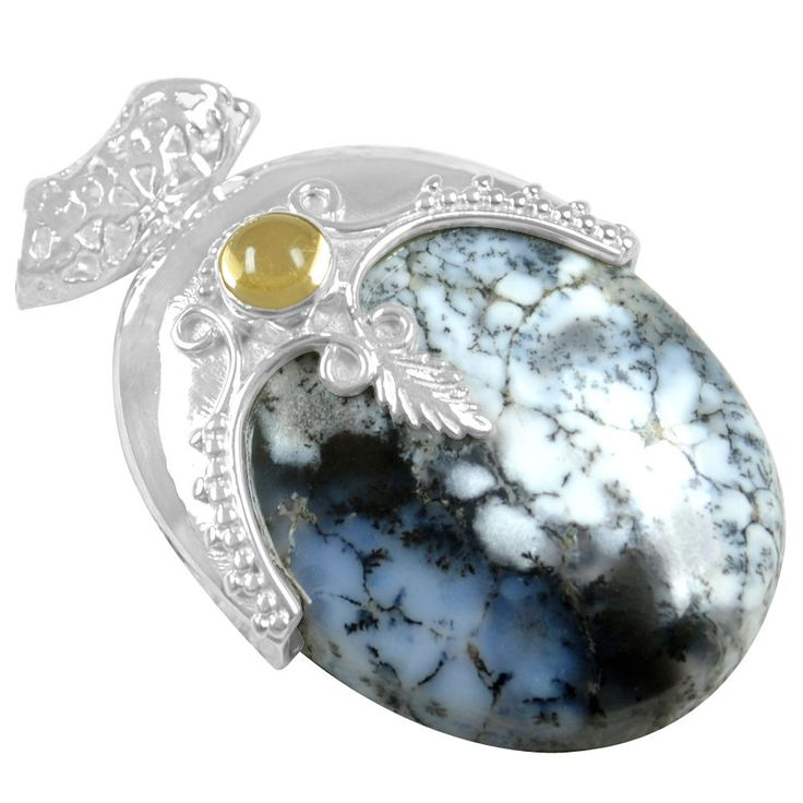18.43 Gm 925 Sterling silver Natural Dendrite Opal Citrine Pendant Pure Jewelry #Unbranded