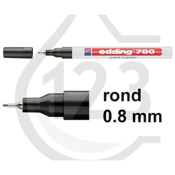 Edding 780 glanslak-marker zwart 4-780001 200624 --- De zwarte Edding 780 paint marker heeft een ronde punt om markeringen van 0,8 mm te maken en is geschikt om markeringen te zetten op bijna alle materialen zoals glas, kunststof, hout en metaal. Met deze lakmarker kunnen markeringen worden gezet die buitengewoon wrijfvast, watervast, sneldrogend en hittebestendig tot 400° Celsius zijn. De inkt in deze marker is permanent, reukarm en bevat geen tolueen en xyleen.