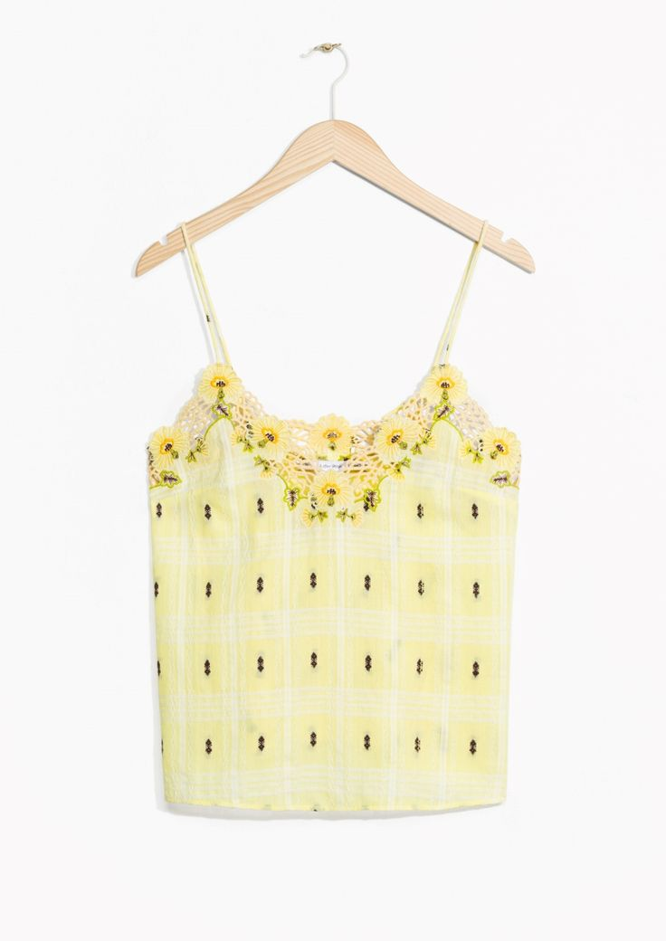 & Other Stories image 1 of Embroidered Spaghetti Top  in Yellow
