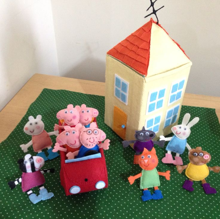 Peppa pig casa house carro car feltro felt