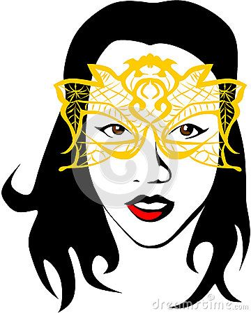 Colored vector drawing of a woman with long hair who wears a yellow mask.