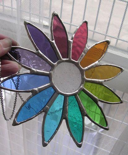 Daisy! Beautiful Spring Rainbow Stained Glass Art Suncatcher - pewtermoonsilver | eBay