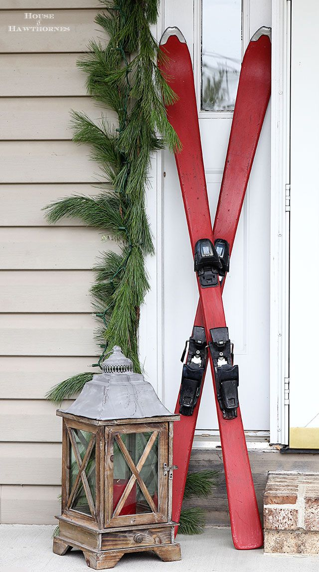 DIY chalk painted skis for festive holiday porch decor