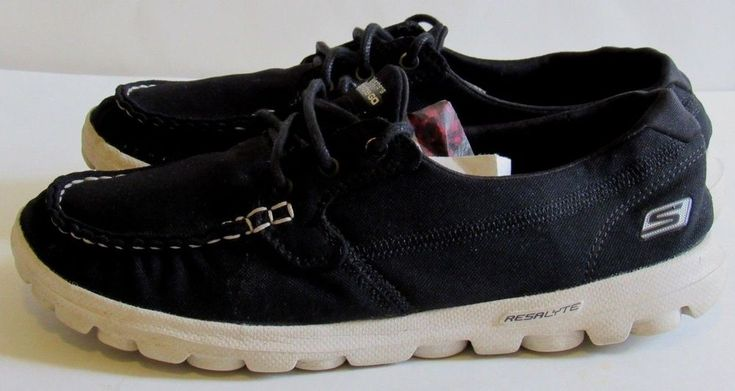 Skechers on the Go 7.5M Black White Lace Up Resalyte Sole Light weight GRUC #Skechers #SlipOn