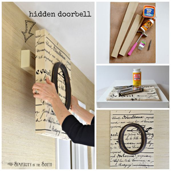 Click to learn how to; make monogrammed and decoupaged art. Modge Podge canvas wall decor. Cover your doorbell box with it! Brilliant.