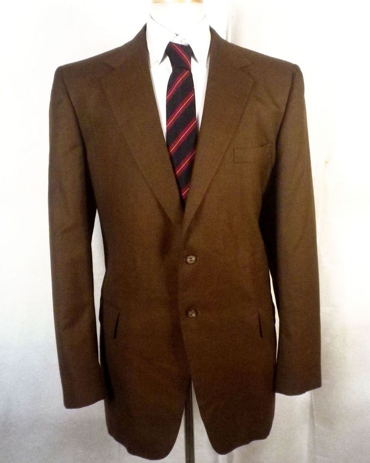 vtg 60s dapper Shiny Brown 100% Wool Canvassed Blazer Sportcoat Jacket sz 44 L