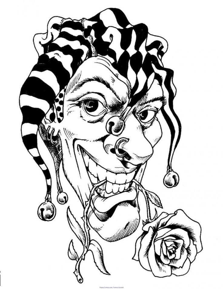 Rose In Jester Clown Mouth Tattoo Stencil