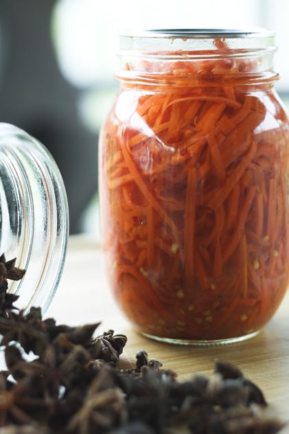 Sweet and Spicy Asian Style Pickled Carrots. These are cool. The anise makes them a sweet palate cleanser, and a yummy side dish for spicy food.