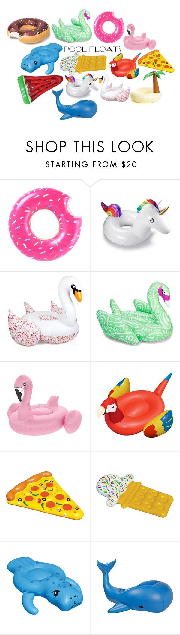 """Pool Floats"" by kiannanas ❤ liked on Polyvore featuring interior, interiors, interior design, home, home decor, interior decorating, Sunnylife, Funboy, Floatie Kings and Ankit"