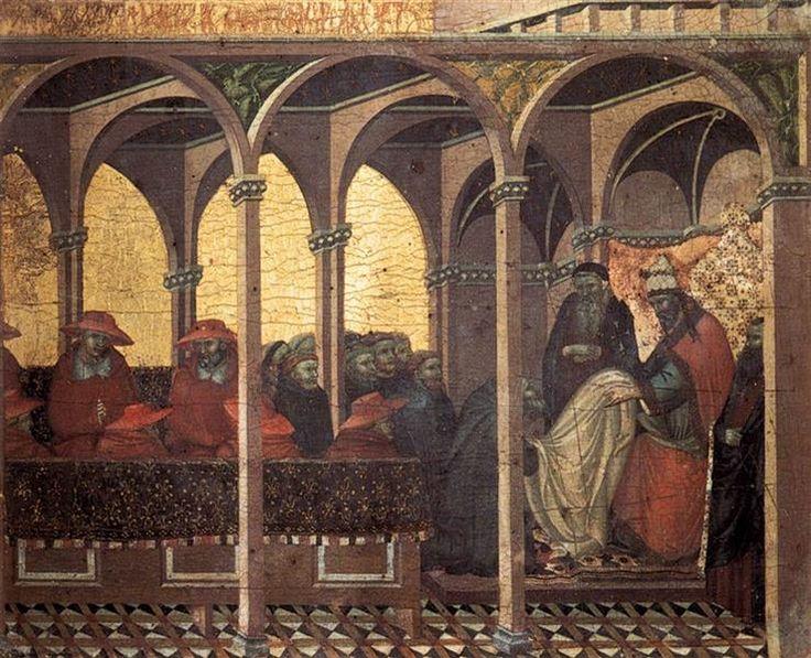 Predella Panel. The Approval of the New Carmelite Habit by Pope Honorius IV, 1329 - Pietro Lorenzetti