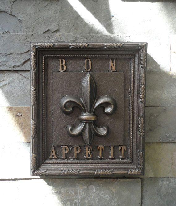 Creole Bon Appetit Fleur De Lis Kitchen Plaque / Louisiana Oil Rubbed  Bronze / French Chef