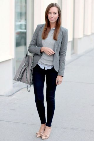 Grey blazer, grey sweater, jeans, business attire, work outfit, clothes for work, work clothes, business clothes, work dress