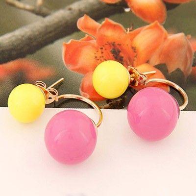 Masonic Yellow Candy Round gorgeous Stud Earrings