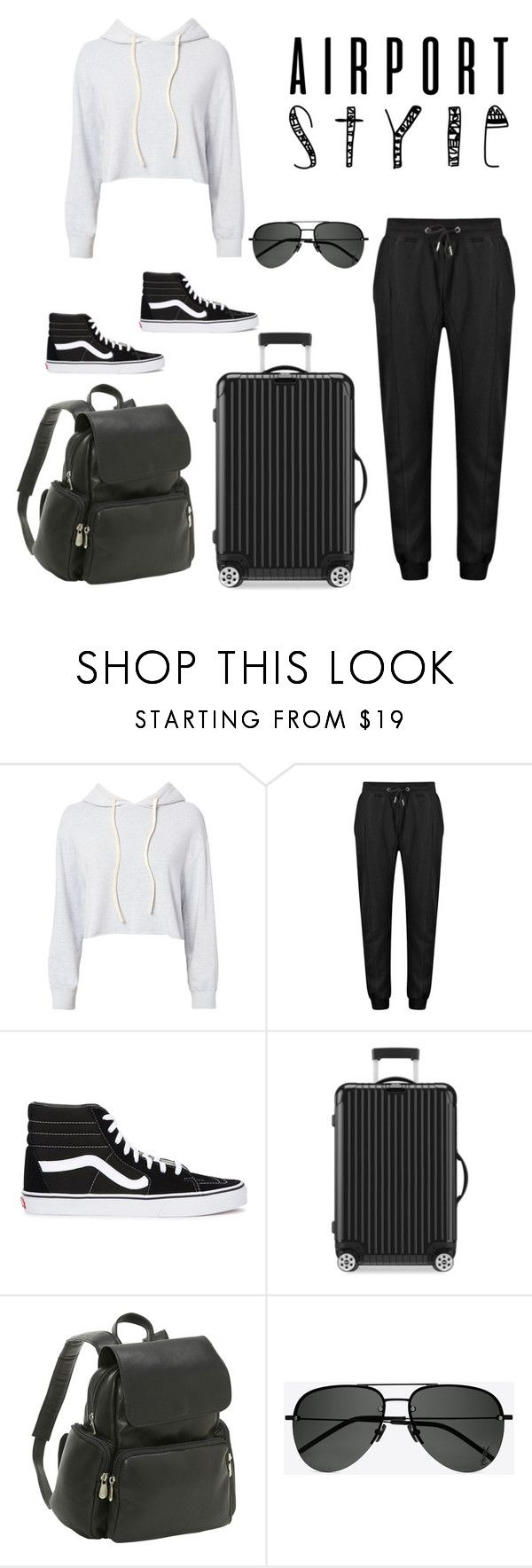 """airport vibe"" by lightskinbhaddie ❤ liked on Polyvore featuring Monrow, Vans, Rimowa, Le Donne and Yves Saint Laurent"