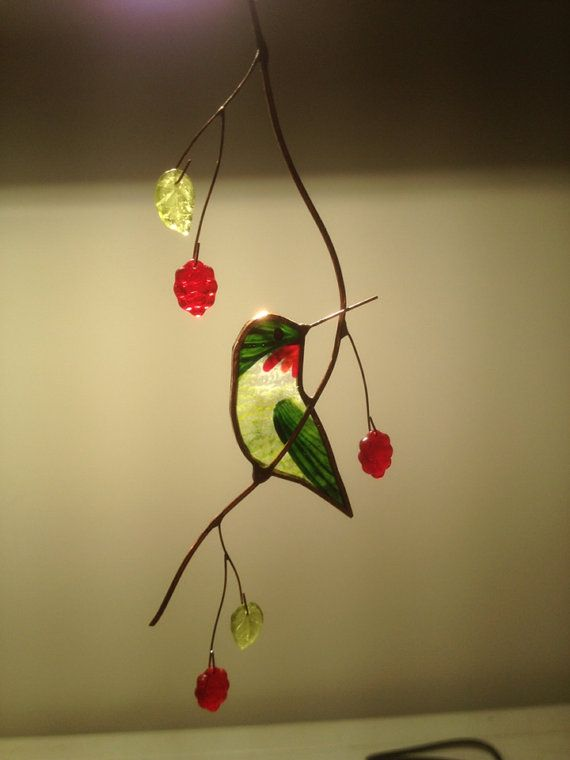 Turned Hummingbird Stained Glass Suncatcher