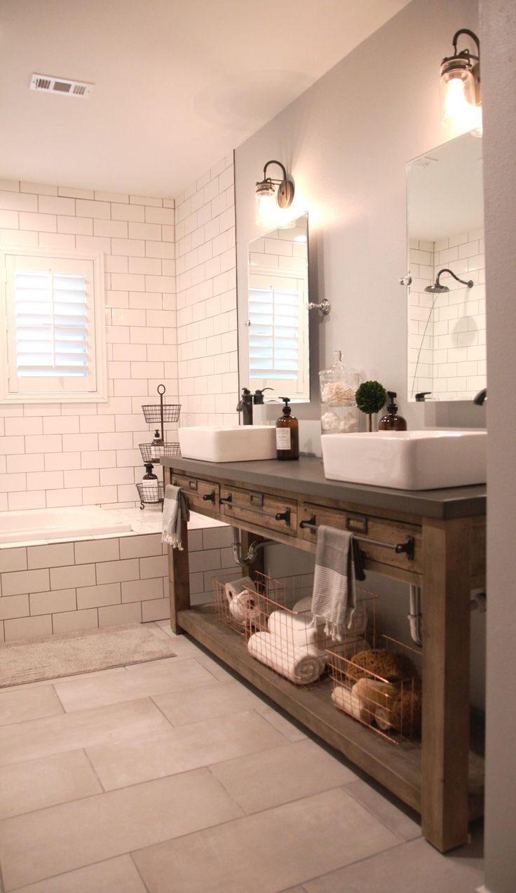 Rustic master bathroom with log walls amp undermount sink zillow digs - Bathroom Remodel Restoration Hardware Hack Mercantile Console Table Hacked Into A Double Vanity