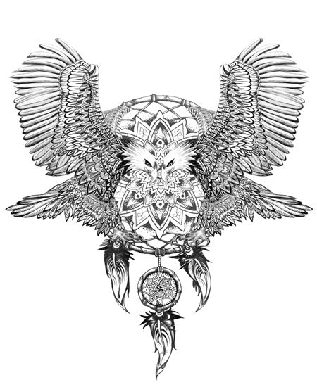 Eagles And Dreamcatcher Hand Drawing Detail Sketch