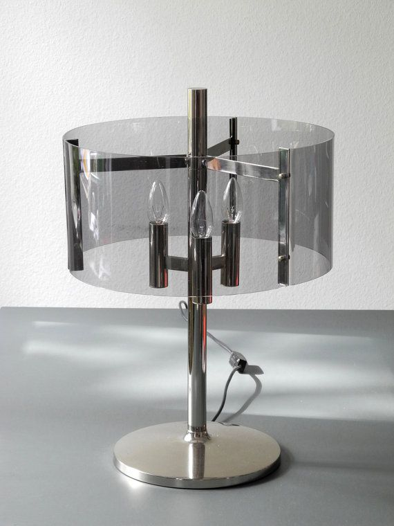 Wonderful XXL very rare giant 60s metal table or floor lamp in chrome metal with round smoked color plexi glass lampshade. Georgeous condition without