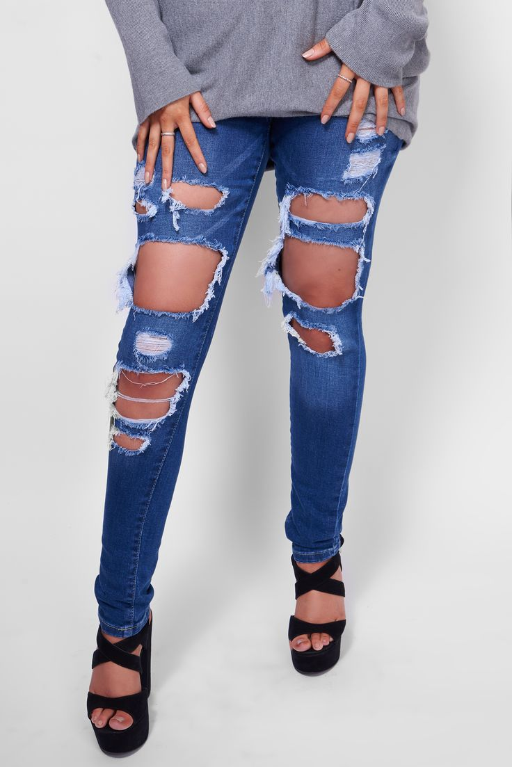 Denim Days... Our gorgeous new ripped skinny jeans! Now online and in-store! https://www.havetolove.com/collections/new-arrivals/products/doutzen-blue-denim-ripped-skinny-stretch-jeans #trending #havetolove #style #new