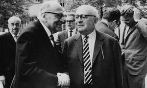 Philosophers Max Horkheimer, front left and Theodor Adorno, front right.